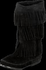 Minnetonka - 3-Layer Fringe Boot Black