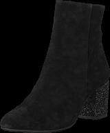 Angulus - Block Heel Boot With Zipper Black/black Glitter